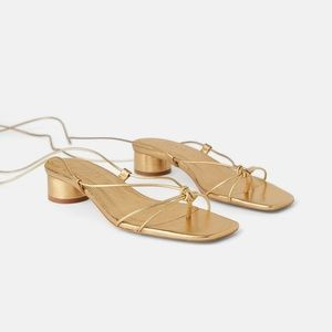NWOT Gold Heeled Leather Sandals With Thin Straps